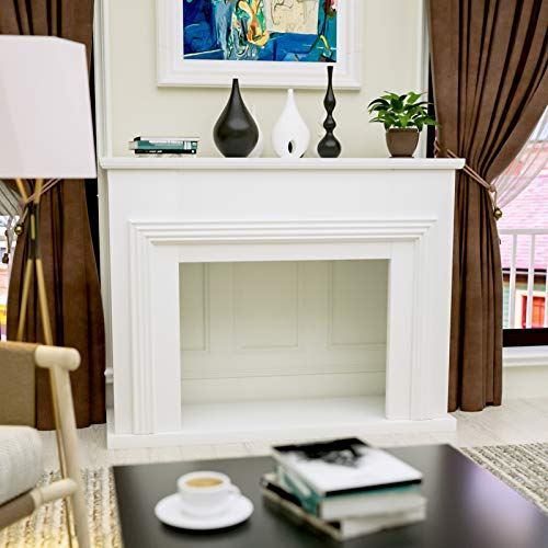 Mecor Fireplace Mantel Surround,Electric Fireplace TV Stand,Living Room Furniture (White)