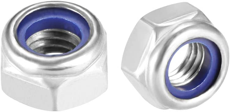 Plain Finish uxcell M8 x 1.25mm Nylon Insert Hex Lock Nuts 316 Stainless Steel Pack of 10