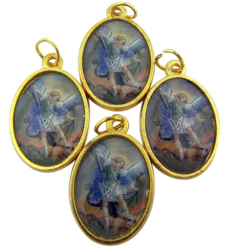 - Lot of 4 Archangel Saint Michael 1 Inch Gold Plate Medal with Color Icon Pendant