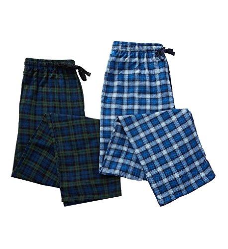 Hanes Men's Blue Plaid Flannel Lounge Pant 2-pack (Hanes Flannel Plaid Pajamas)
