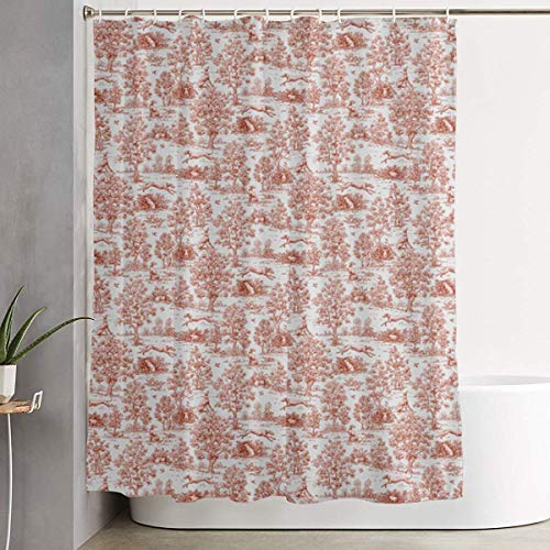 (Breezming Gray and Burgundy Greyhound Toile Shower Curtain Waterproof Bathroom Decor Funny Novelty with Hooks 60 X 72 Inch )