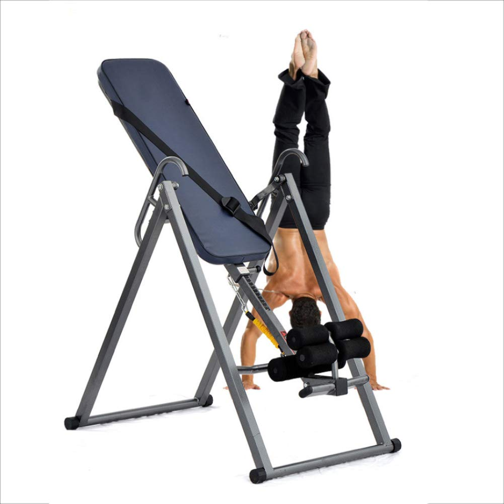 ヘビーデューティ反転テーブル フィットネス背中の痛みを軽減するための最大300ポンドの頑丈な足首固定チューブ付き折りたたみ式フリップテーブル   B07PHK389N