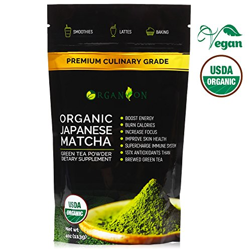 Matcha Green Tea Powder (113 g) – Organic Premium Authentic Japanese – USDA & JONA Certified – Non-GMO & Gluten, Unsweetened, Vegan – Best Culinary Grade for Latte, Iced Chai, Smoothie, Baking - Moisturizing Body Smoothie