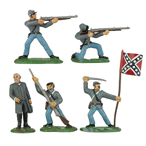 BMC Civil War Confederate Soldiers - 5pc Painted 54mm Plastic Army Men Figures