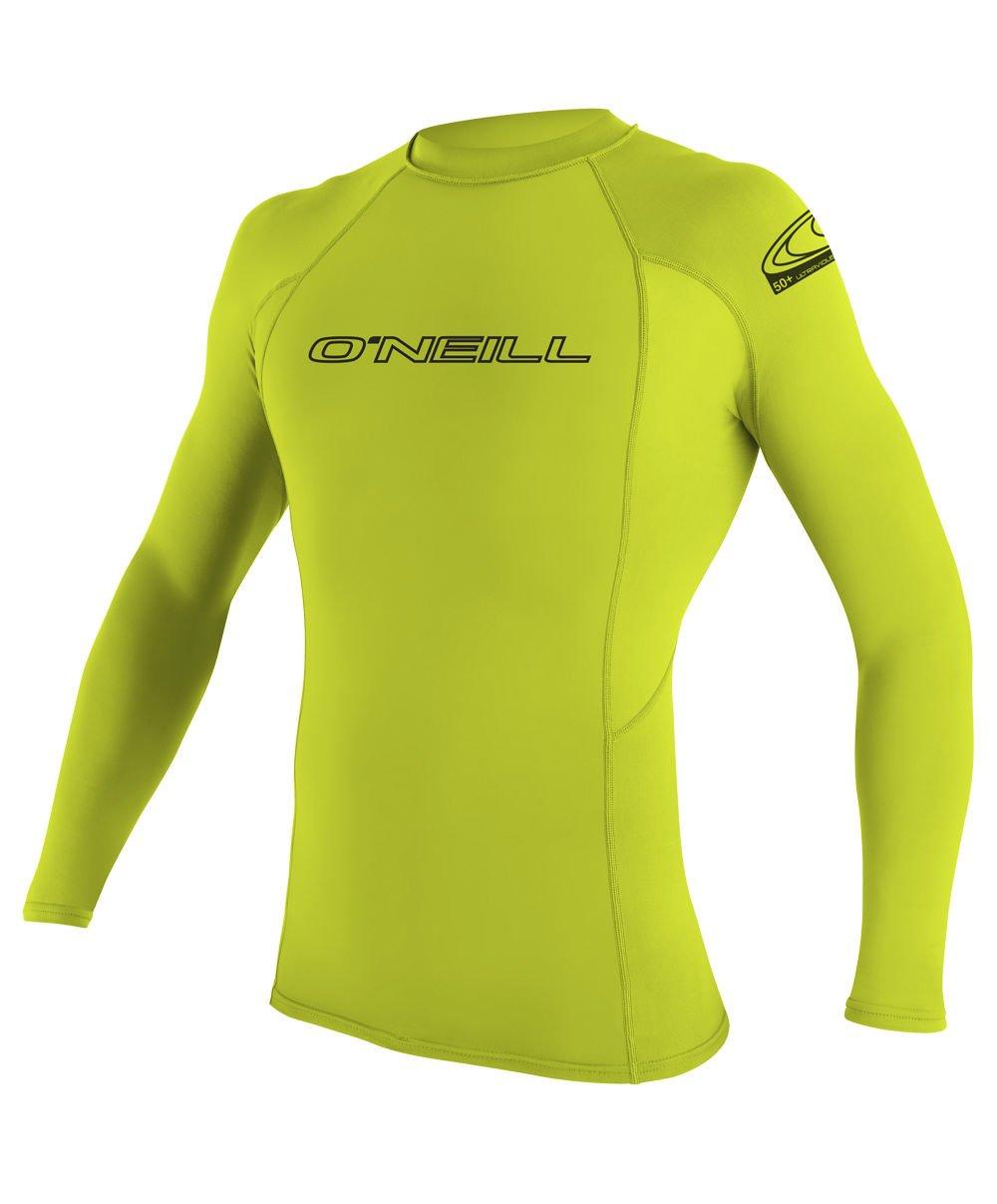 O'Neill Youth Basic Skins UPF 50+ Long Sleeve Rash Guard, Lime, 12