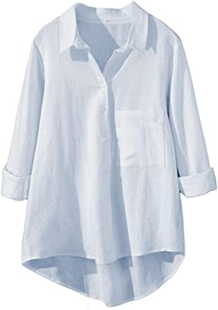LaovanIn Women's Linen Shirts Plus Size Casual V Neck Button Down Shirts  Blouses High-Low Tunic Tops at Amazon Women's Clothing store