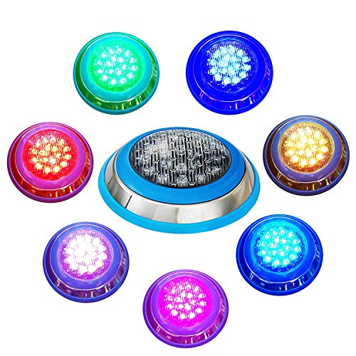 - SIMGULAM LED Underwater Swimming Pool Lights,24W RGB Color Changing,12V AC,Wall Surface Mounted IP68 Waterproof,Stainless Steel,with Remote Controller (30ft Cord),24W,30ft
