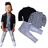 LUQUAN Set Clothes Fomal Kids Boys Business Suit+Grid Shirt +Trousers Outfits 6 Tall
