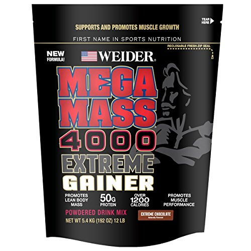 Weider Megamass 4000 Weight Gainer, Extreme Chocolate, 12.1 Pound