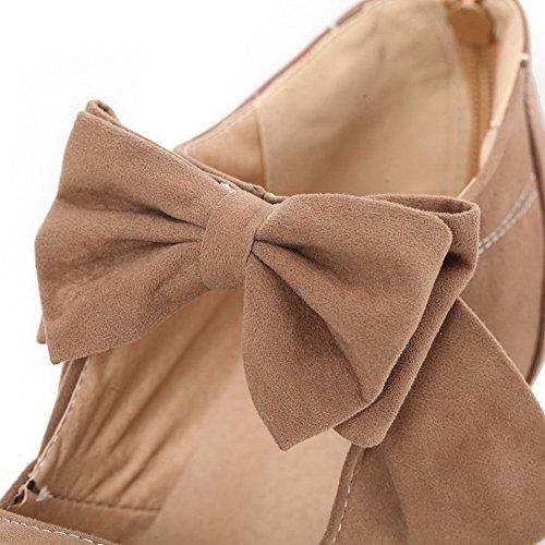 AllhqFashion Femme Tire Suédé Couleur Unie Fermeture d'orteil Chaussures Légeres Couleur de Chameau osopGh
