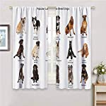 hengshu Dog Lover Decor Collection Blackout Shades Curtains Group of Large Breed Dogs Together Bullmastiff Alaskan Akita Bernese for Window Curtains Valances W52 x L45 Inch Beige Brown Black 8