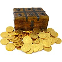 WellPackBox Wood Pirate Treasure Chest Box 50 Gold Chocolate Coins Candy