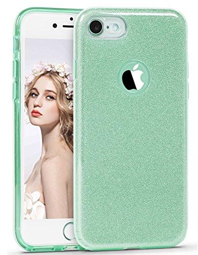 iPhone 6s Case, ImikokoTM Fashion Luxury Protective Hybrid Beauty Crystal Rhinestone Sparkle Glitter Hard Diamond Case Cover for iPhone 6s/6 (Mint Green-3 Layer)