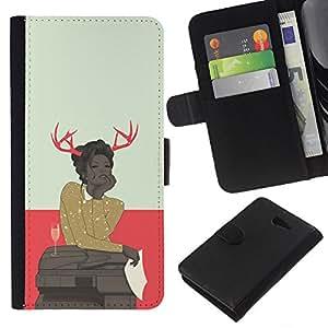 KLONGSHOP // Tirón de la caja Cartera de cuero con ranuras para tarjetas - Astado Hipster Mujer - Sony Xperia M2 //