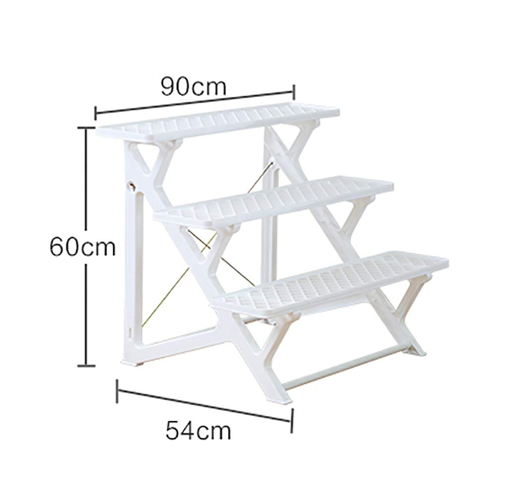 NDD 3 Tier Potted Plant Display Stand - for Indoor Outdoor Garden Use - Ideal for Flowerpots and Shrubs in Pots White (Size : 905460cm)