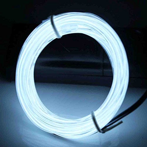 Jytrend 9ft Neon Light El Wire w/ Battery Pack - White