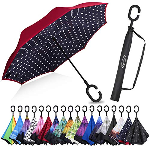 G4Free Double Layer Inverted Umbrella Cars Reverse Open Folding Umbrellas, Windproof UV Protection Large Upside Down Straight Umbrella for Car Rain with C-Shaped Handle(Blue Dot)