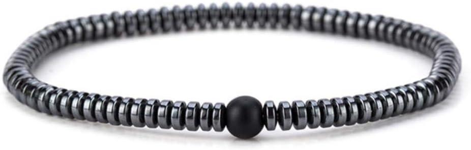 Bvcahosg Pulsera pequeña de hematita Granos Negros Piedra Braslet para joyería de Yoga Unisex, Bian