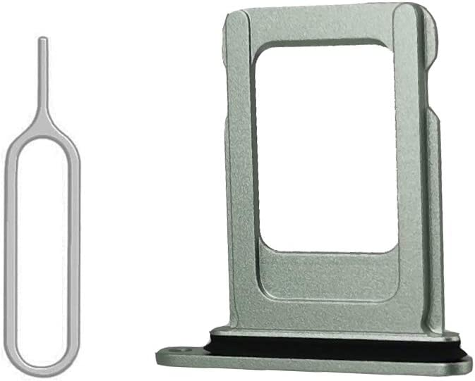 SIM Card Tray Holder Slot with Rubber Waterproof Gasket Replacement incl. Open Eject Pin for iPhone 12 (6.1 inch) (Green, Dual Sim Version)