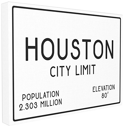 Stupell Industries Houston City Limit Stretched Canvas Wall Art, Proudly Made in USA