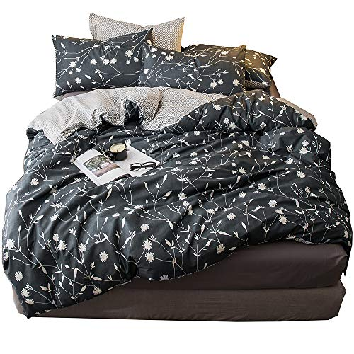 HIGHBUY King Duvet Cover Set with Zipper Closure Cotton Flower Branches Print Bedding Sets King Dark Grey 3 Piece Comforter Cover Set with Geometric Chevron Stripe Pattern Reversible (Duvet Chevron Stripe)