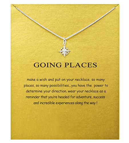 SEWEI Friendship Wishbone Infinity Necklace Cross Angel Wing Necklace with Message Card Wish Card (Silver-Plated Compass)