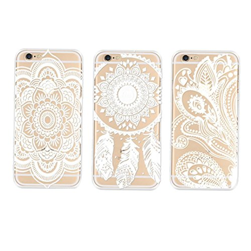 "Price comparison product image Tenworld 3PC Henna Floral Paisley Flower Clear Hard Case Cover Skin for iPhone 6 4.7""/iPhone 6 Plus 5.5"" (For iPhone 6 Plus)"