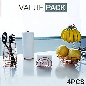 Kitchen Set 4pc | Fruit Basket / Banana Holder, Utensil Holder, Napkin Holder & Paper Towel Dispenser - Double Coated Copper Finish Modern Accessories Collection for Countertop Table Decor | Heat Resistant Tool