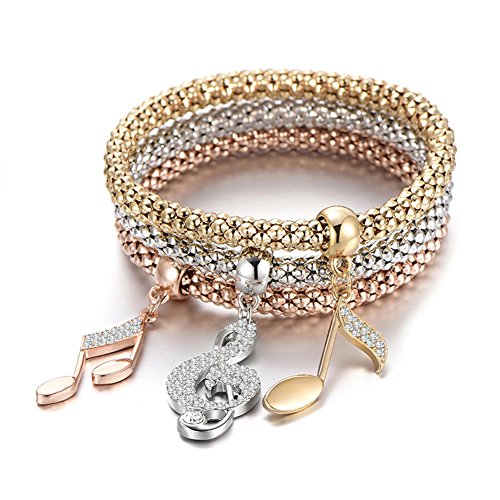 PORPI-JOJO 3PCS Gold/Silver/Rose Gold Tone Corn Chain Stretch Bracelets Anchors Beatles Charms Multilayer Bracelet for Women 3 Style (Music Note)