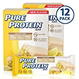 Pure Protein Bars, High Protein, Nutritious Snacks to Support Energy, Low Sugar, Gluten Free, Lemon Cake, 1.76oz, 12 Pack
