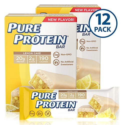 Pure Protein Bars, High Protein, Nutritious Snacks to Support Energy, Low Sugar, Gluten Free, Lemon Cake, 1.76oz, 12 Pack (Best Protein Snack Bars)