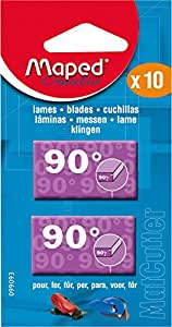 Maped MatCutter 90 Degree Replacement Blades for Straight Cuts, 10 Steel Blades per Pack (099093)