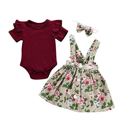 Sameno 3Pcs Toddler Kids Baby Girls Overalls Skirt +Headband+Romper SummerDress Skirt Dress Clothing Outfit (Beige, 3-6 Months)]()
