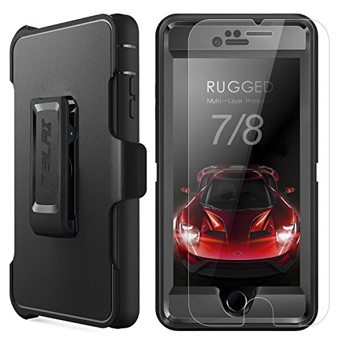 (iPhone 7 Case, iPhone 8 Case,MBLAI Glass Screen Protector Holster Belt-Clip Heavy Duty Defense Case [4 Layers] Rugged Rubber Shockproof Protection Case Cover for iPhone 7/ iPhone 8 [4.7 inch],Black)