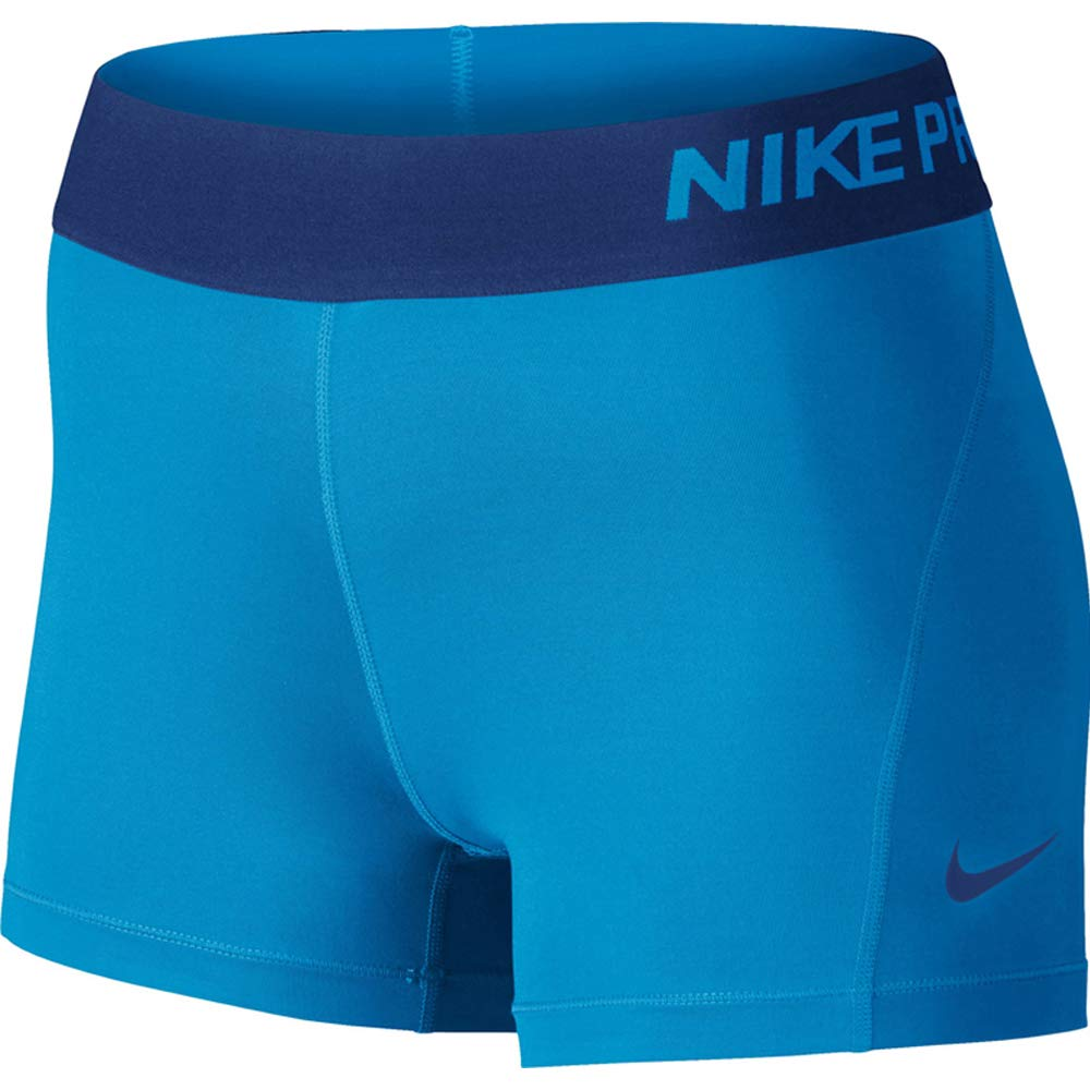 Nike Women's Pro Cool 3-Inch Training Shorts (Light Photo Blue/Deep Royal Blue/Small)