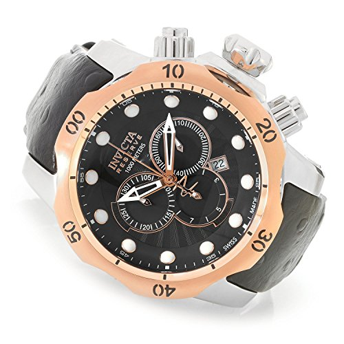 Reserve 52mm Venom Swiss Made Quartz Chronograph Leather Strap Watch () - Invicta 90132