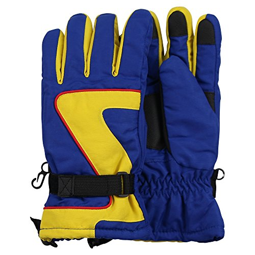 Kid's Waterproof Insulated Winter Snow Ski Glove (Blue/Yellow, Ages 13-18)