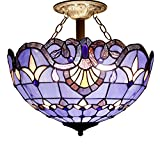 Tiffany Ceiling Fixture Lamp Semi Flush Mount 16 Inch Blue Purple Baroque Stained Glass Shade for Dinner Room Pendant Hanging 2 Light