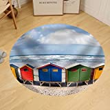 Gzhihine Custom round floor mat Row of Brightly Colored Huts in Muizenberg Beach. Muizenberg Cape Town. South Africa