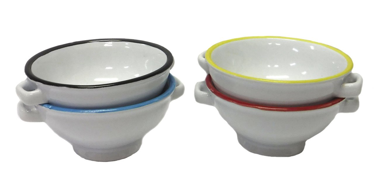 Set of 4 Small Ceramic Nut/Spice Serving Bowls - 4 Colors - 1.5'' x 3''