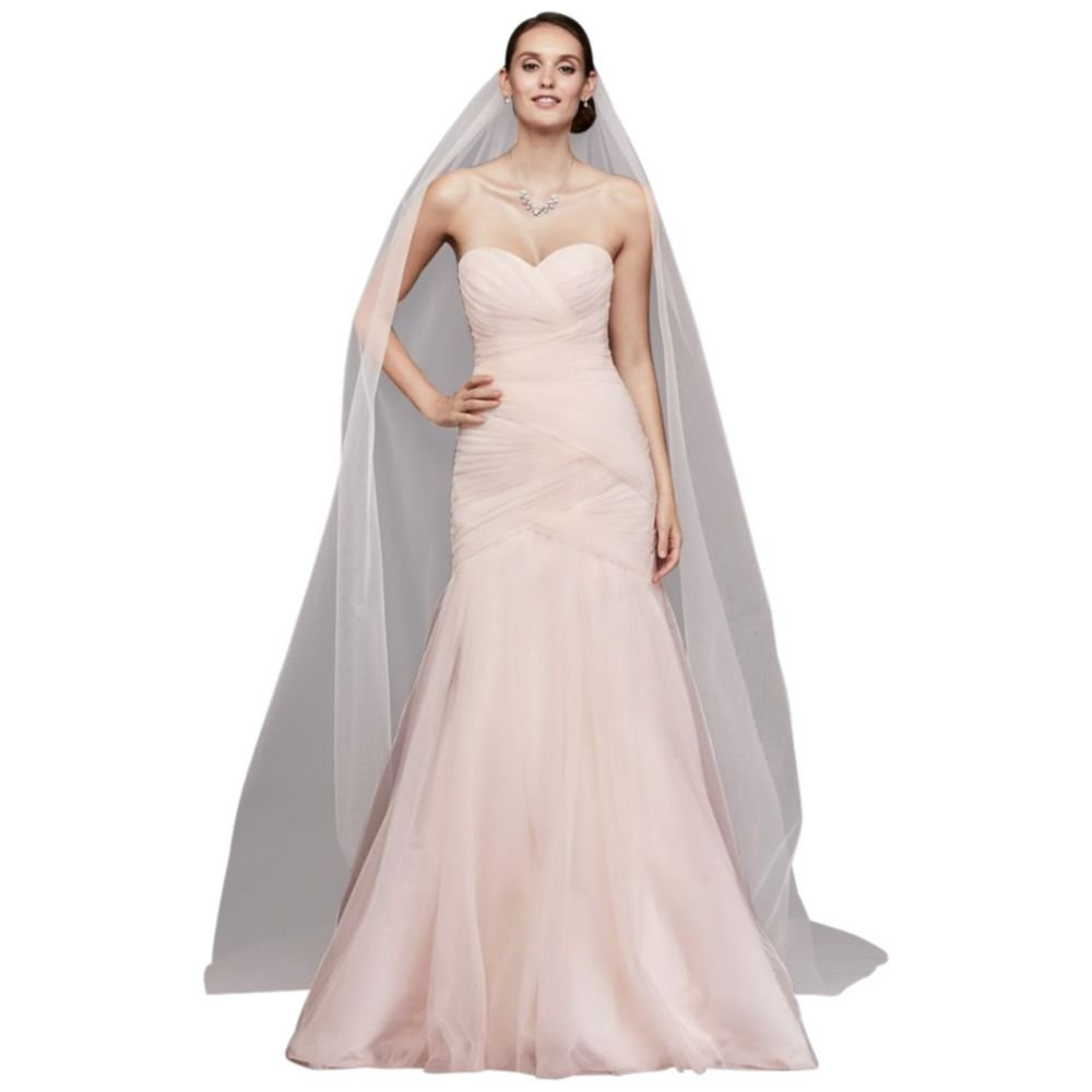 Single-Tier Raw Edge 165-Inch Cathedral Veil Style V703CXL, Whisper Pink