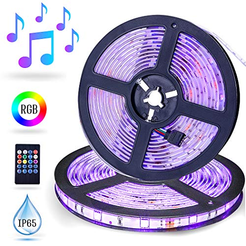 LED Strip Lights Music Sync, ESEYE 32.8ft IP65 Waterproof Flexible Self Adhesive Sound Activated RGB 300 LED Tape Light Neon Mood Lights Strip kit for Room Festival Illumination TV with Remote