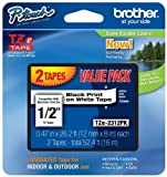 Brother Laminated Black On White Tape 8Pack (TZe2312PK) by Brother