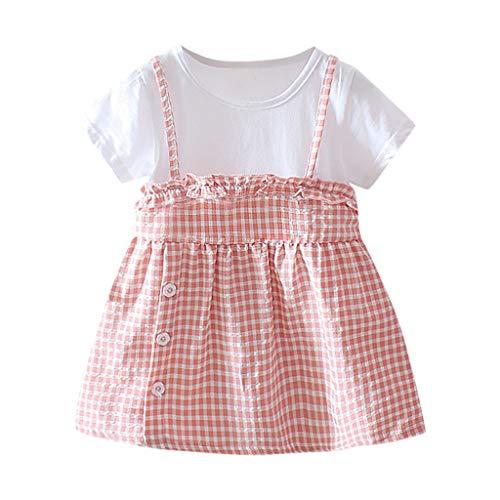After Six Empire Waist Bridesmaid Dress - LiLiMeng 2019 New Infant Baby Girls Short Sleeve Plaid Print Ruffles Strap Button Princess Dress Casual Clothes Pink