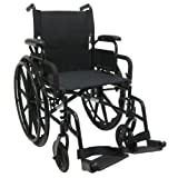 Karman Healthcare 802N-DY Aluminum Lightweight Wheelchair with Flip Back Armrests, Swing Away Footrests, Black, 16-Inch Seat Width