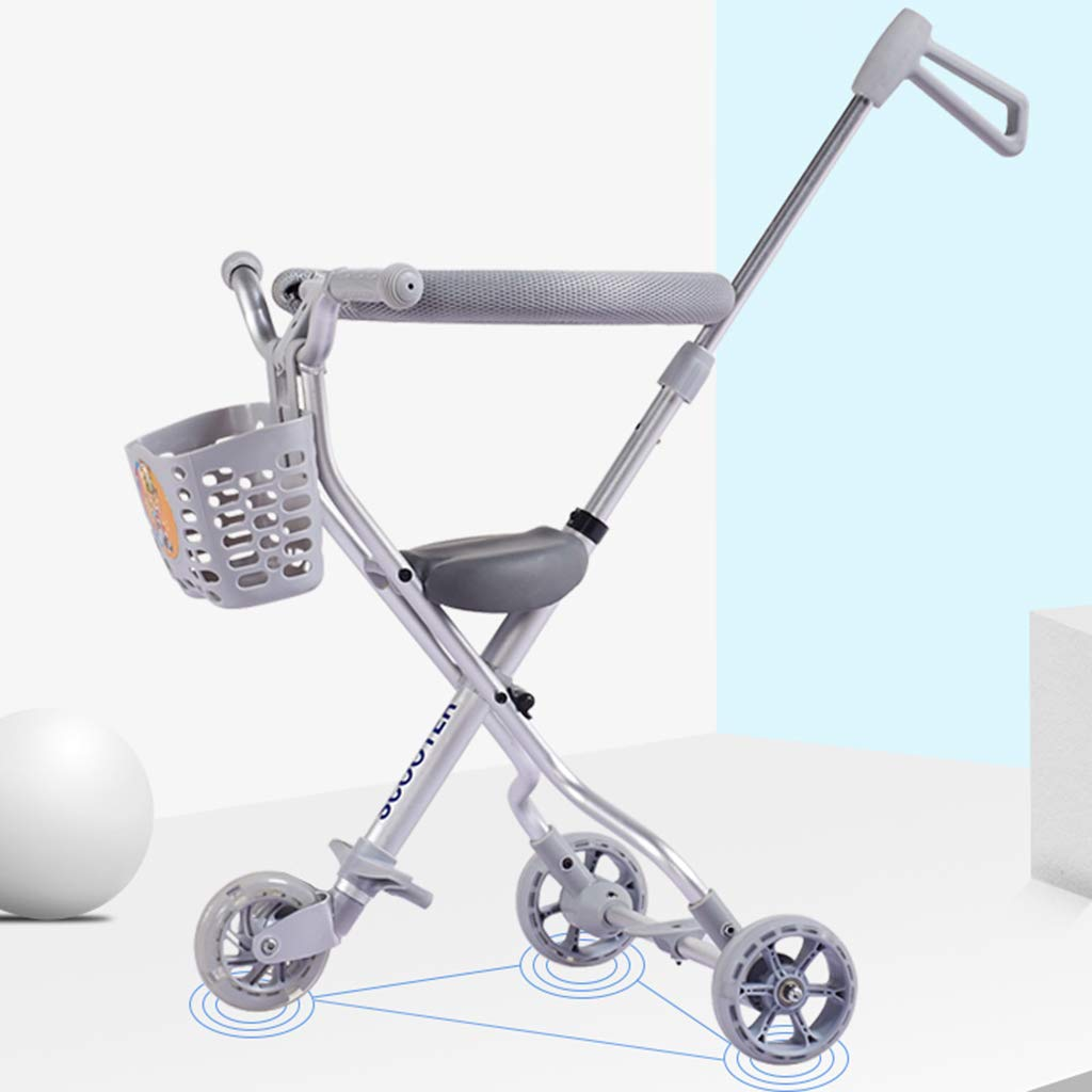 Baby Four-Wheeled Shatter-Resistant Lightweight Folding Children's Trolley Trend Adventure Travel System Range Aviation Aluminum Silver 6.3. (Color : Silver, Size : B) by Bbjinpin (Image #4)