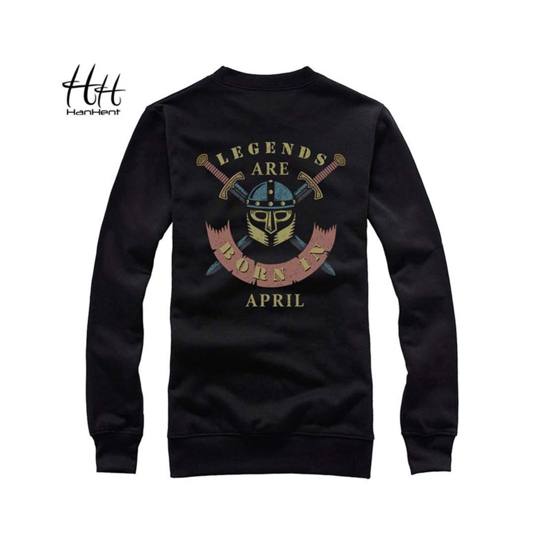 Indian Clothing Store HANHENT HH Polyester O-Neck Black Men Sweatshirts