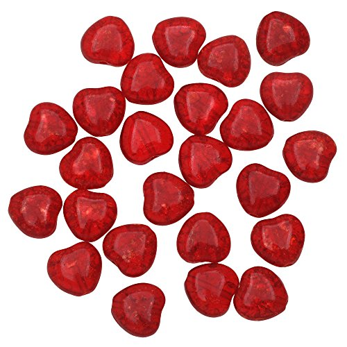 Czech Glass - Crackle Heart Beads 8.5x7.5mm 'Ruby' (25) ()