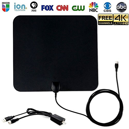 TV Antenna, HDTV Amplified Digital Antenna Super-Thin 50 Miles Range, 1080P/4K with Detachable Amplifier Signal Booster for Free TV Channels,USB Powered 13FT High Performance Coax Cable, Black Review