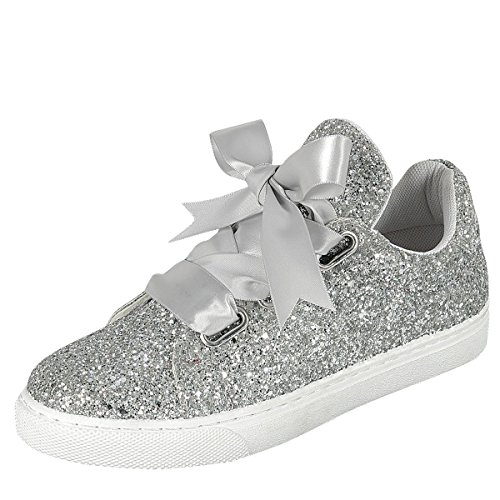 Forever Link Womens Round Toe Ribbon Bow Lace Up Glitter Fitness Gym Trainer Fashion Sneakers 7 (Silver Ballet Ribbon)
